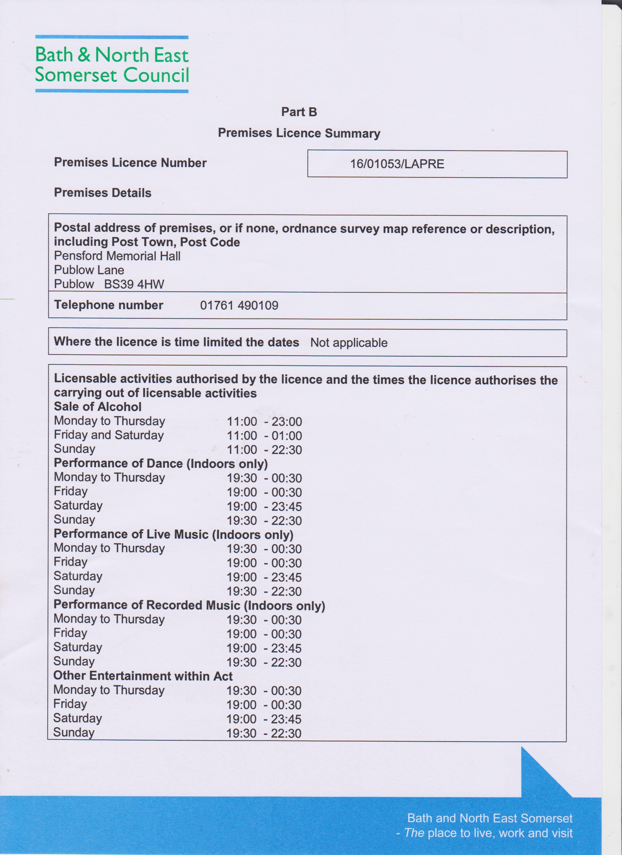 Premises licence part B pg1